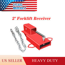 Clamp On Forklift Hitch Receiver Pallet Fork Trailer Towing Adapter 2 With Chain