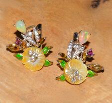 22x10 mm, 925 Silber Ohrringe, Weißgold beschichtet, Opal, Amethyst & Perlmutter