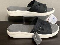 NEW Crocs LiteRide Slides Sandals Beach Shoes Clogs SlipOns Black/White M10/W12