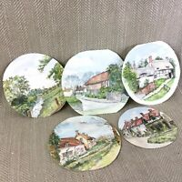 Originale Acquerello Dipinti Art Inglese in Paglia Cottage Rurale Landscape