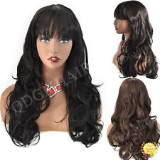 """Long Wavy Machine Made Wigs for Women with Bangs Synthetic Black Brown Hair 26"""""""