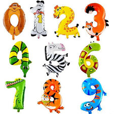 Funny Animal Number Foil Balloons  Kids Child Happy Birthday Party Wedding Decor