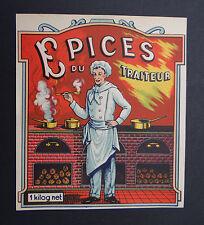 Ancienne étiquette EPICES DU TRAITEUR marmiton cuisto cuisinier french label