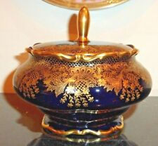 LINDNER BAVARIA GOLD & COBALT BLUE LARGE VANITY POWDER LIDDED BOX