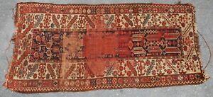 antique caucasian tribal rug 68 x 33 inches