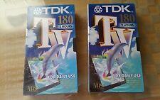 2x TDK TV 180 3 ora in Bianco VHS VIDEOCASSETTE NASTRI E -180 TVED