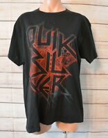 Quiksilver Mens T-shirt Size Medium Black Red Graphic Print Shortsleeve