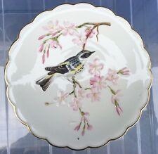 The Birds of Dorothy Doughty Dessert Plate 1973 Myrtle Warbler in Cherry