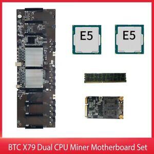 BTC X79 Dual CPU Miner Motherboard DDR3 8 PCI-E X16 with E5-2620 CPU RECC ONY