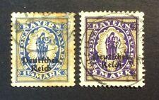 STAMP Bayern Bavière GERMANY DEUTSCHES REICH 1920 . MiNr#130+132. Used. GEA13