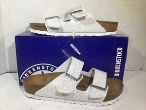 Birkenstock Womens Size 8 EU 39 Arizona Magic Snake White Slides ZB6-1667