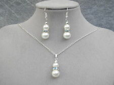 """3a Pearl Diamante 18"""" Necklace Earrings Jewelry Set Bride Bridesmaid Silver Gold"""