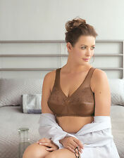 GLAMORISE Bra 52H 52 H WireFREE Support Wide-Comfort-Straps LACE 1000 Cocoa NEW