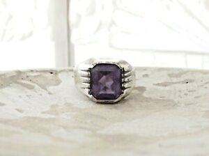 Mens Sterling Silver 925 Color Change Synthetic Alexandrite Size 10.5 Band Ring