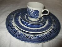 Churchill England Blue Willow Porcelain Dinner Plate, Salad Plate, Cup & Saucer