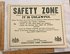 1964 PA Pennsylvania Game Commission Hunting/Trapping Safety Zone Sign Original