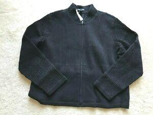 NWT NEW Eileen Fisher BLACK FLIGHT JACKET sweater L LARGE R8BKL-J4871M