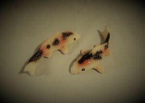 Art pottery hand crafted ceramic glazed koi carp pair aquarium decor used bb