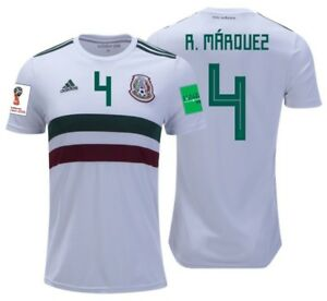 ADIDAS RAFAEL MARQUEZ MEXICO AWAY JERSEY WORLD CUP 2018 PATCHES.