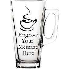 Personalizzata Caffè Latte Macchiato Tè Cioccolata calda grande maniglia vetro tazza MUG TAZZE CUPS