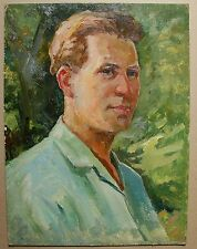 Russian Ukrainian Soviet Oil Painting male portrait socialist realism man