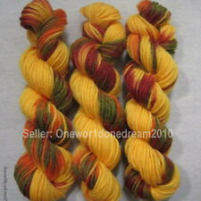 NEW 3 Skeins Hand Dyed Multi Color 8 Ply Worsted Weight Wool Knitting Yarn C28