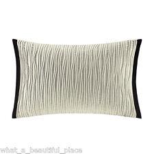 Artology Makie Oblong Decorative Breakfast Toss Pillow Ivory Black Velvet Pleats