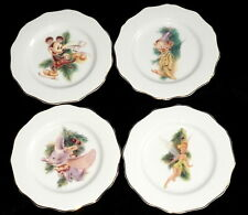 Disney Direct China Holiday Christmas * 4 LUNCHEON PLATES * Characters, Crazing