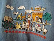 QuizZ Noah's Ark Blue Denim Short Sleeve.Button Front Shirt Size 24 Appliqué
