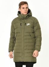 Nike NSW AV15 Down Fill Long Parka Jacket Olive Green 807393 222 Men's LARGE NWT