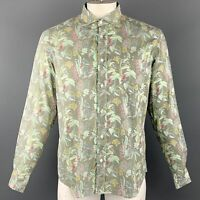 HARTFORD Size M Green Print Cotton Button Up Long Sleeve Shirt
