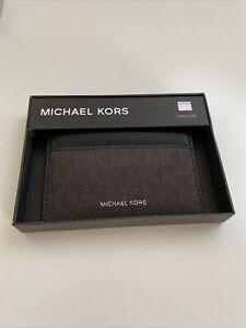New Michael Kors Designer Men's Leather Card Holder Card Holder ID Wallet Brown