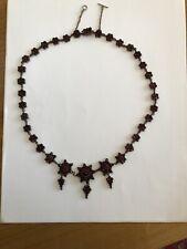 Antik böhmisches Granat Collier, Halskette, Silber, Länge 50 cm