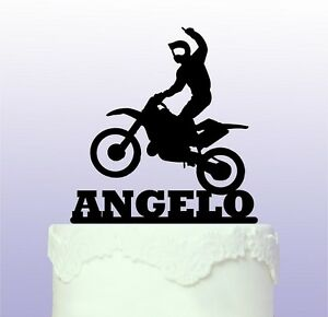 Personalised Fun Motocross Acrylic Cake Topper