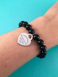 """Tiffany & Co Heart Tag In Silver On A Black Onyx Bead Bracelet. 7"""". Beads 8mm"""