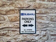 METAL SIGN - SUBARU PARKING - WALL PLAQUE - IDEAL GIFT  GARAGE - WRX NOVELTY