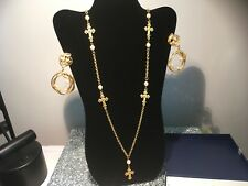 runway vintage necklace set high quality gold metal with pearls