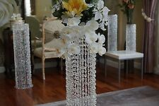 "14"" WEDDING TOP BEADED PLATE OF CENTERPIECE IRIDESCENT CRYSTAL DECORATIONS"