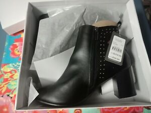 Autograph Boots Size 10 Studded Black winter Ankle Leather Low Heel New Comfort