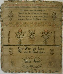 EARLY 19TH CENTURY FLORAL MOTIF & VERSE SAMPLER BY SARAH JENNER  - 1806