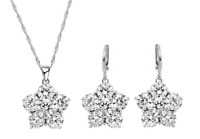 Sterling Silver Trendy Diamond Flower Necklace Earrings Jewellery Set