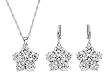 Sterling Silber Trendy Diamant Blume Halskette Ohrringe Schmuck Set