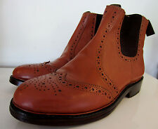 Samuel Windsor hand made Tan Oxford Wingtip Chelsea Boots Brogues UK 8.5 EU 42.5