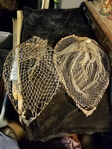 """2 Antique Vintage Collapsible Fishing Net Tops Metal Frame 12.5"""" X 16.5"""""""