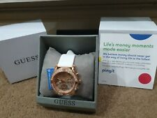 Ladies smart Guess Rose Gold Watch - white silicone strap Contactless Pingit New