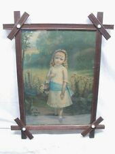 Early Little Daisy Print Adirondack Wood Frame w/Porcelain Buttons Hallett 1880