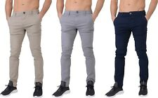 Mens Chino Jeans Crosshatch Slim Fit Pants  Straight Leg Trousers