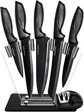 Chef Set Kitchen Knives w/ Stand & Pro Knife Sharpener 7 Piece Stainless Steel