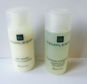 Temple Spa BE GONE Gentle Cleanser & TONING ESSENCE 30ml Travel Size Brand New
