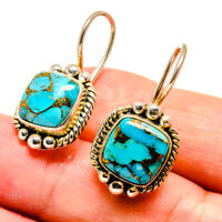 "Blue Copper Turquoise 925 Sterling Silver Earrings 1 1/8"" Jewelry E408091F"